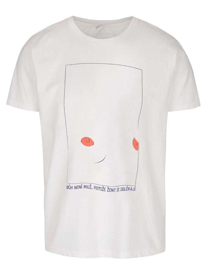 Krémové pánské triko s krátkým rukávem Bez Jablka Bradavky