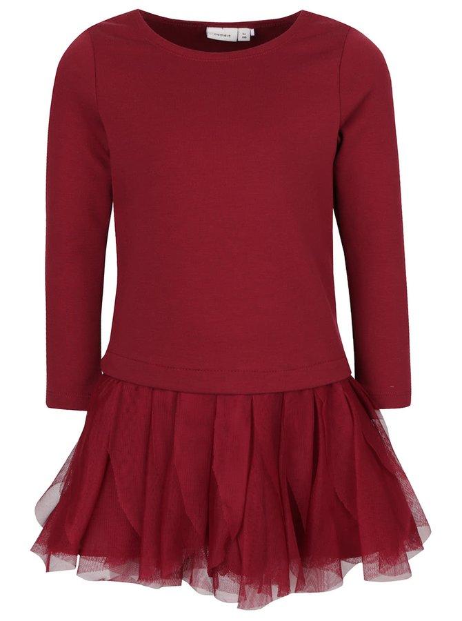 Rochie roșu burgundy name it Wemilla cu mâneci lungi