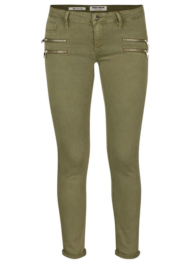 Khaki skinny džíny s ozdobnými zipy TALLY WEiJL
