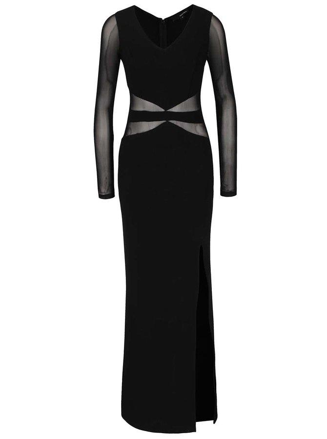 Černé maxišaty s průsvitnými detaily a rukávy TALLY WEiJL