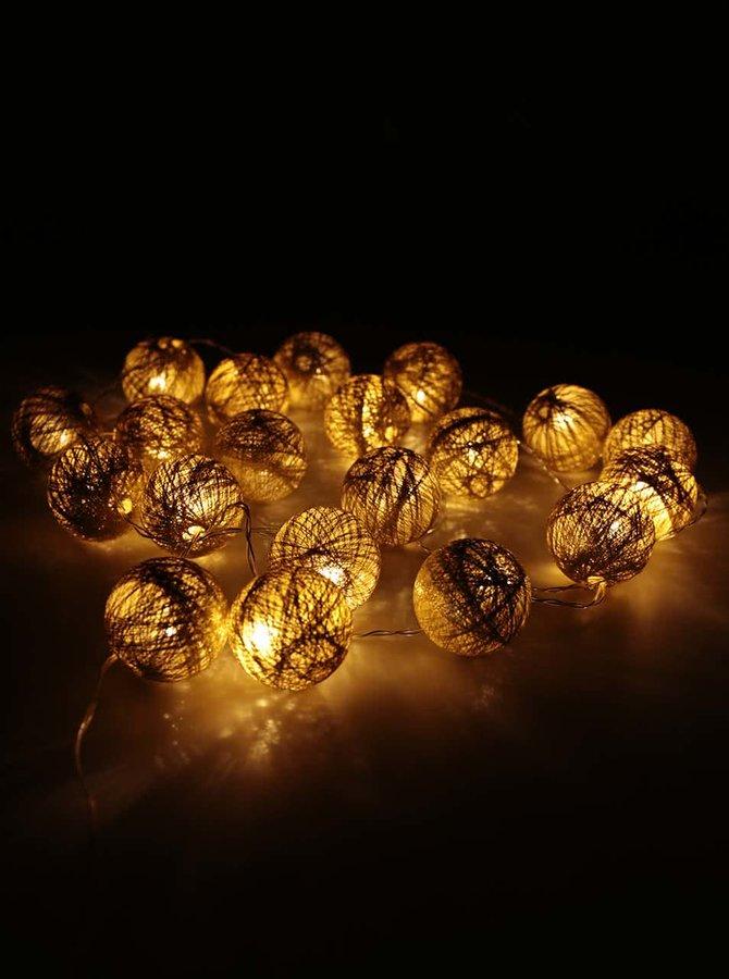 Dekorativní řetěz se svítícími koulemi ve zlaté barvě Sirius bolette