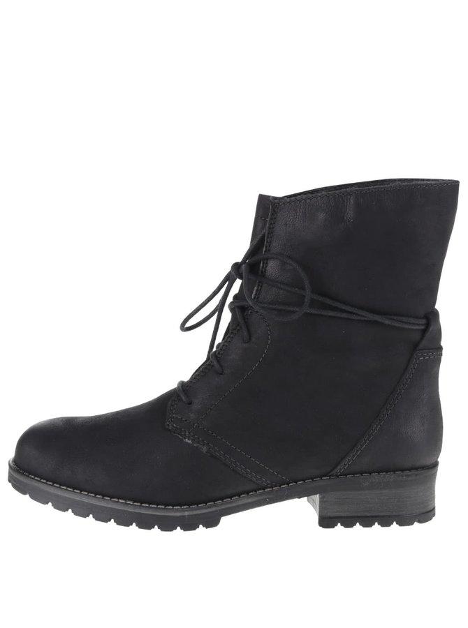 Černé kožené kotníkové šněrovací boty s umělým kožíškem Tamaris