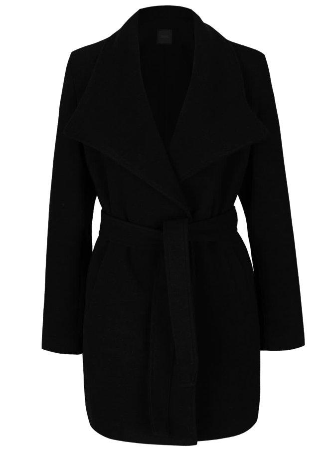 Palton negru ZOOT cu cordon și guler cu revere