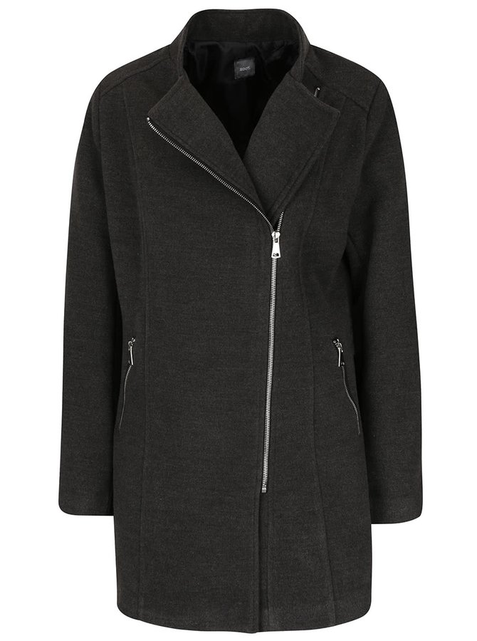 Šedý kabát s křivým zipem ZOOT