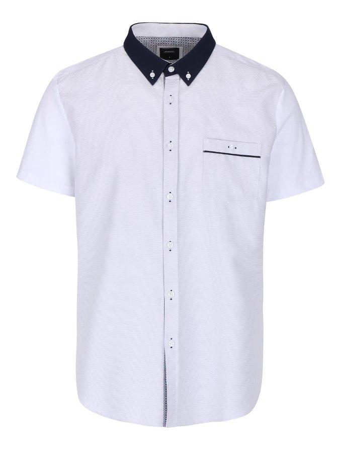 Cămașă albă Burton Menswear London cu mâneci scurte și model discret