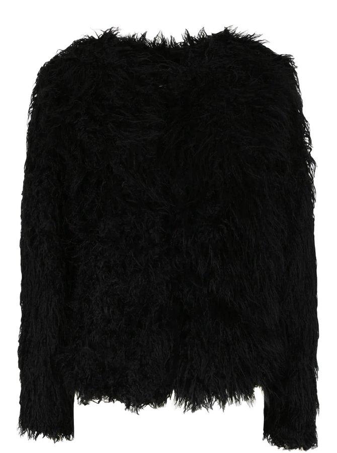 Čierny krátky kabát s umelým kožúškom VILA Lux