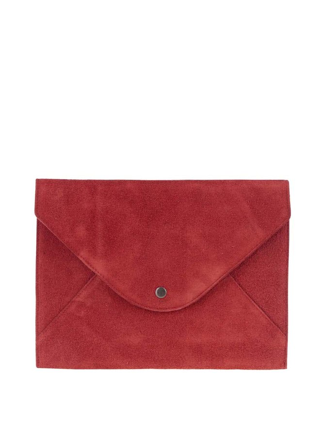 Geantă plic roșie din piele întoarsă Pieces Dina