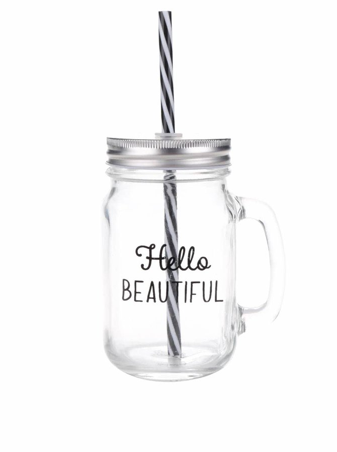 Průhledná sklenička s brčkem Sass & Belle Hello beautiful