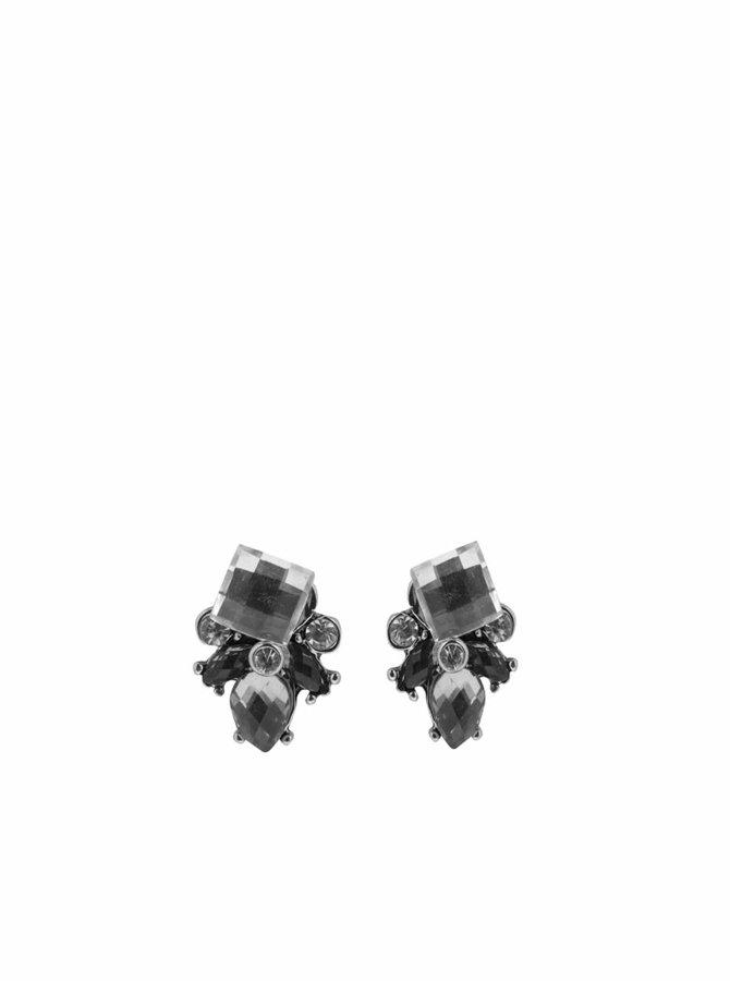 Náušnice s kamínky ve stříbrné barvě Pieces Dorthi