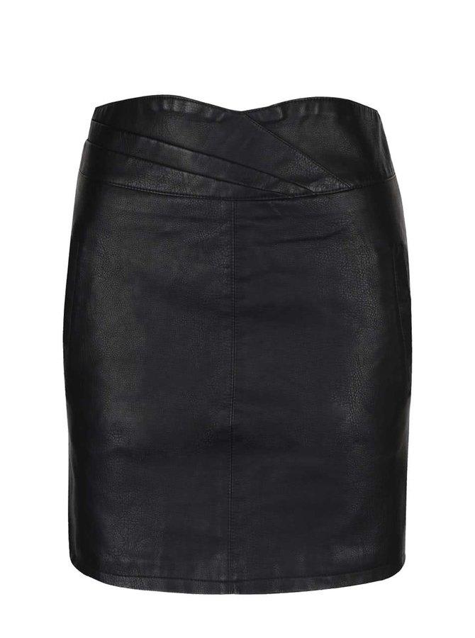 Černá koženková minisukně s kapsami Vero Moda Connery