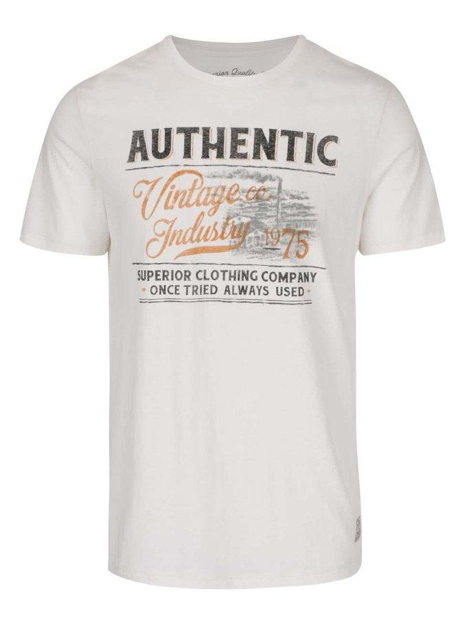 Krémové tričko s potlačou Jack & Jones V37 Deroid