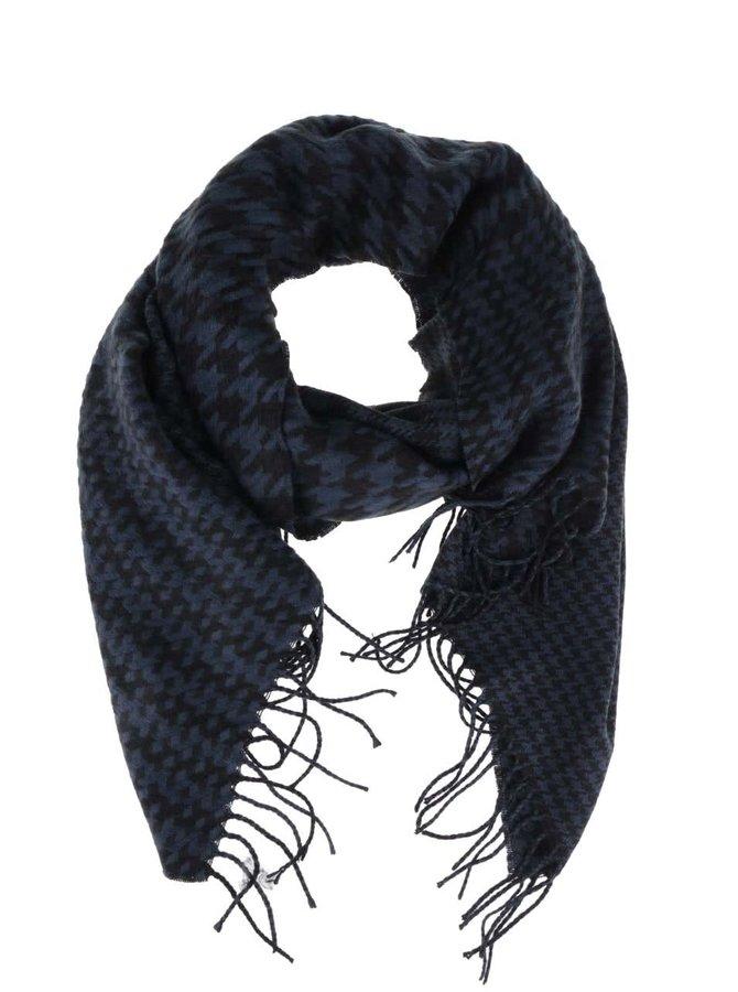 Modro-černá šála s třásněmi VILA Edel