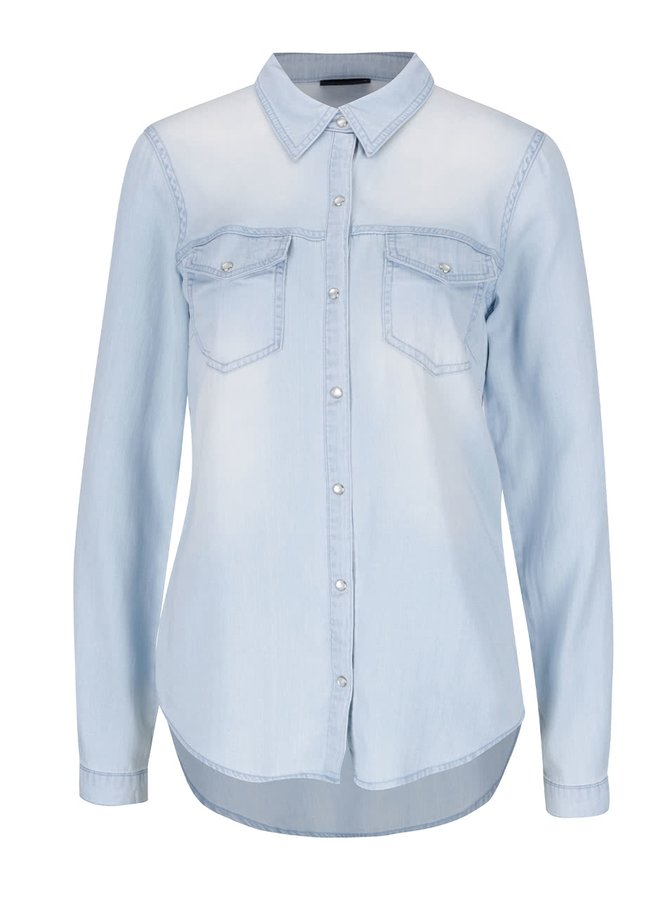 Světle modrá denimová košile s dlouhým rukávem VILA Bista