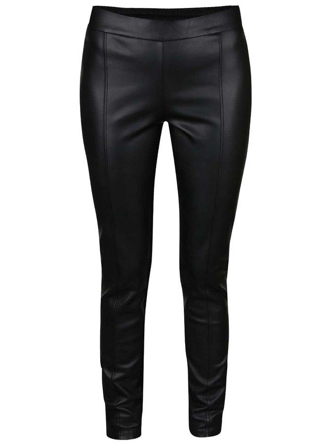 Černé koženkové kalhoty VERO MODA Canti