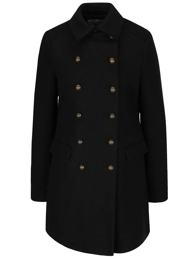 Čierny kabát s dvojradovým zapínaním VERO MODA Marina
