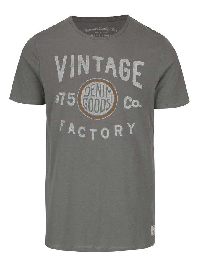 Sivozelené tričko s potlačou Jack & Jones V37 Deroid