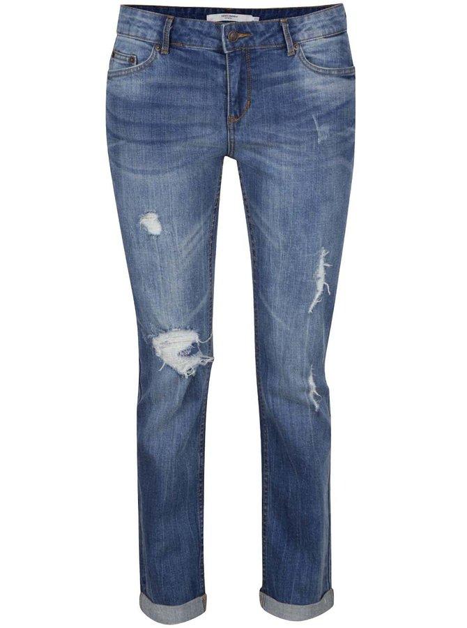 Modré zkrácené džíny s potrhaným a vyšisovaným efektem VERO MODA Ten