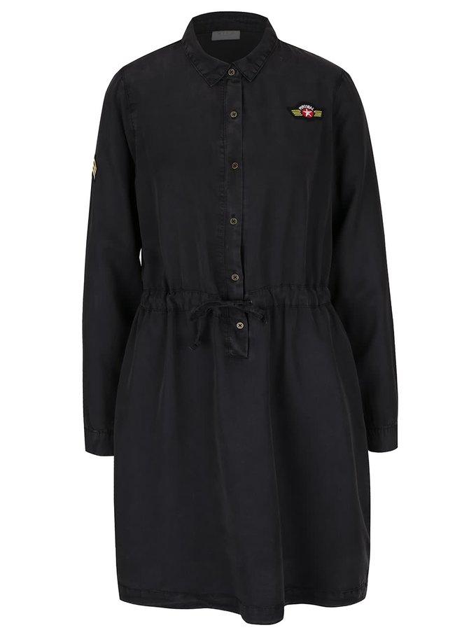 Tmavě šedé košilové šaty VILA Mayor