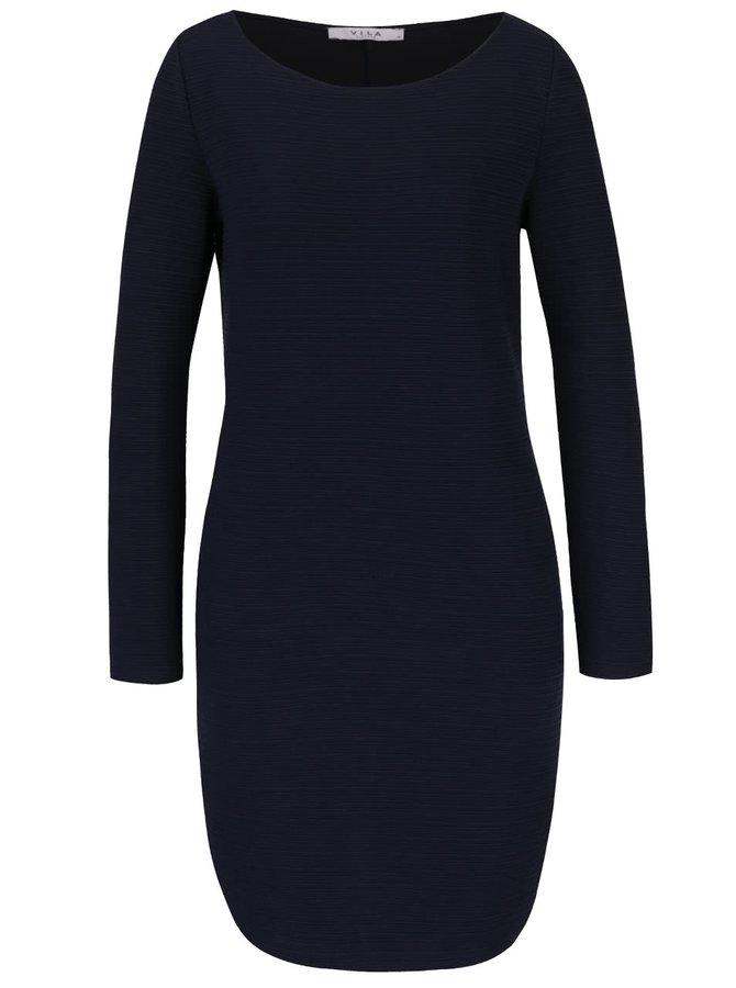 Tmavě modré šaty s jemným plastickým vzorem VILA Evelyn