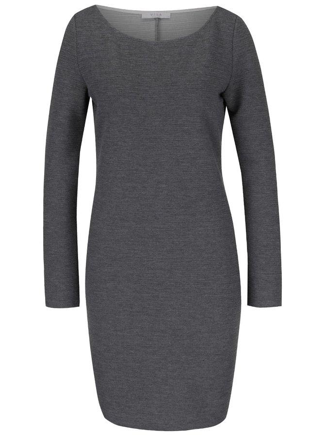 Šedé šaty s jemným plastickým vzorem VILA Evelyn