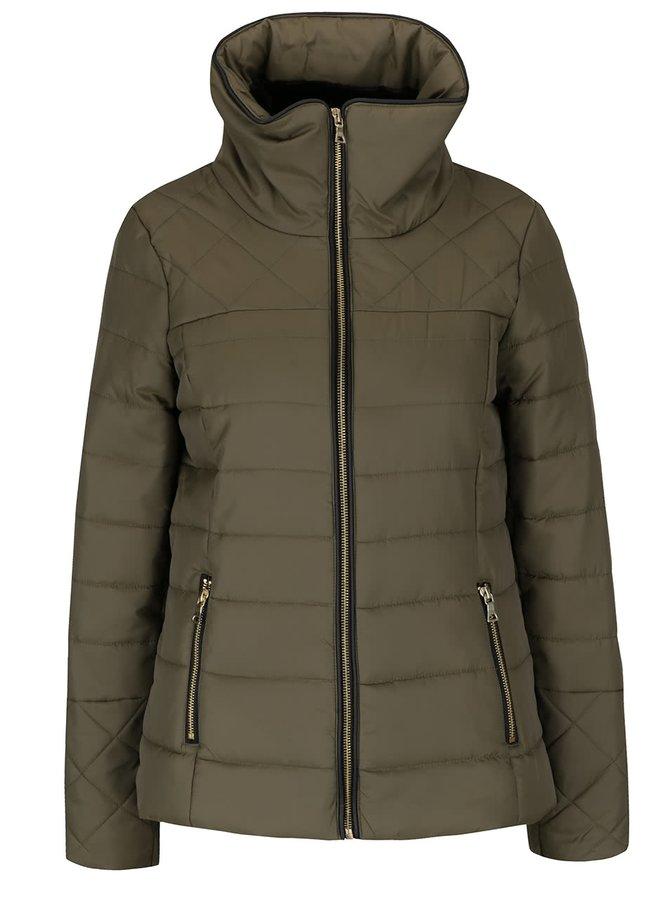 Khaki bunda s umělou kožešinou a vysokým límcem Vero Moda Helle