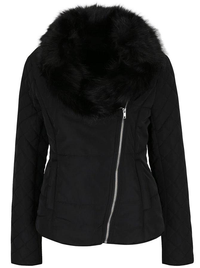 Černá prošívaná bunda s asymetrickým zapínáním VILA Groova