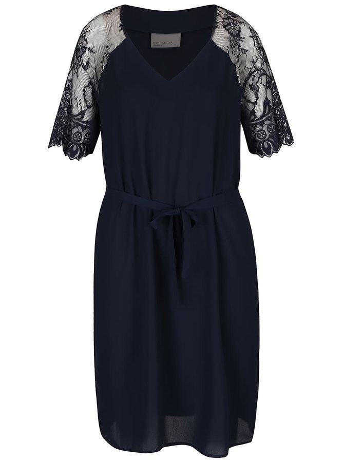 Tmavě modré šaty s krajkovými rukávy a zavazováním v pase VERO MODA Laural