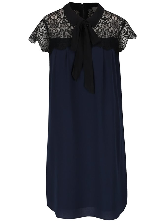 Černo-modré šaty s krajkovaným dekoltem a vázankou Vero Moda Marie