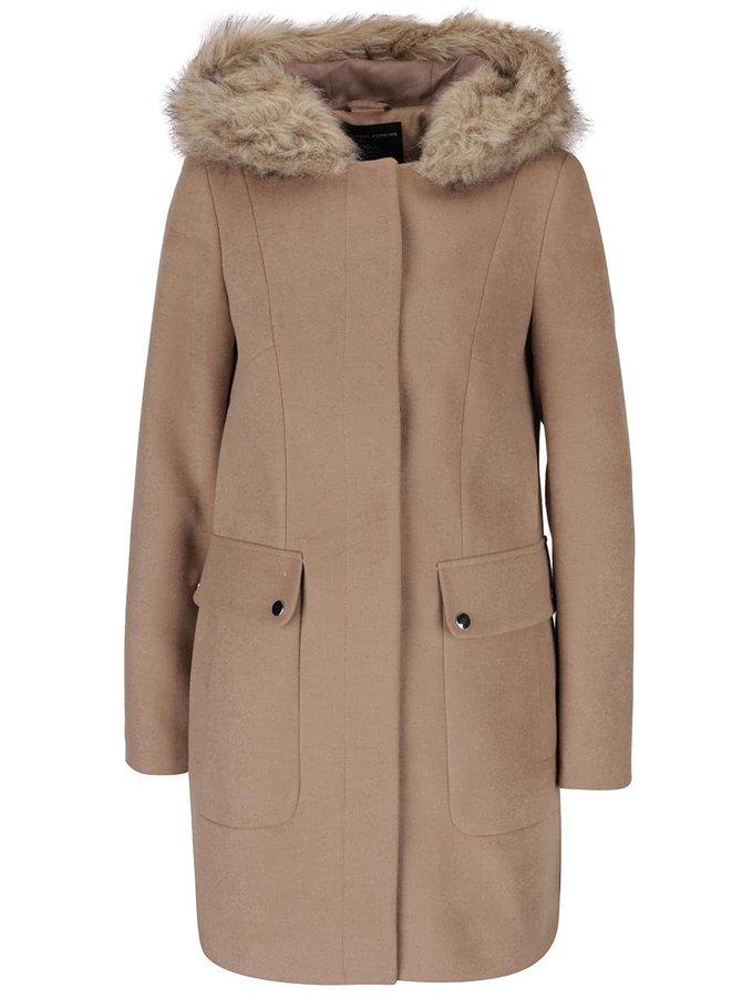 Béžový kabát s kapucí s umělým kožíškem Dorothy Perkins