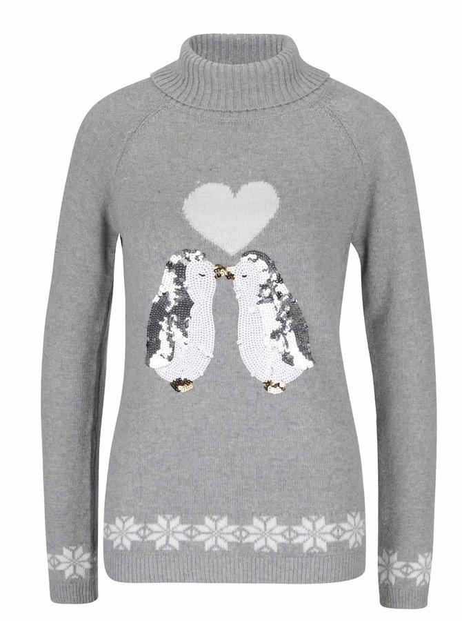 Šedý svetr s tučňáky z flitrů Dorothy Perkins