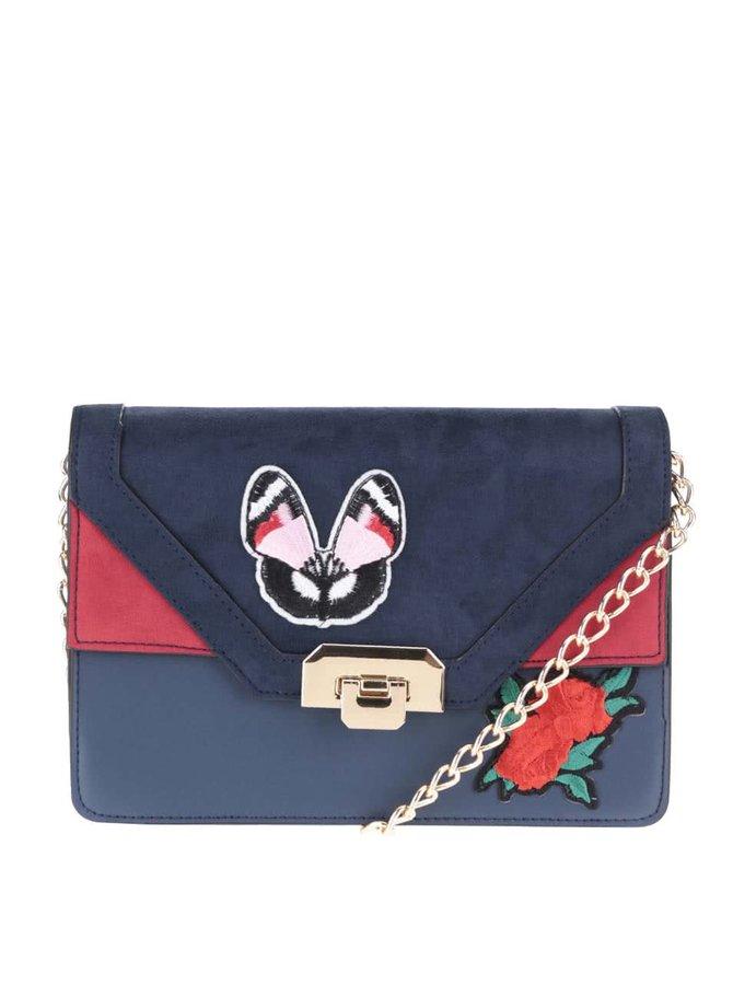 Tmavě modrá malá kabelka s vyšitým motýlem a růží Dorothy Perkins