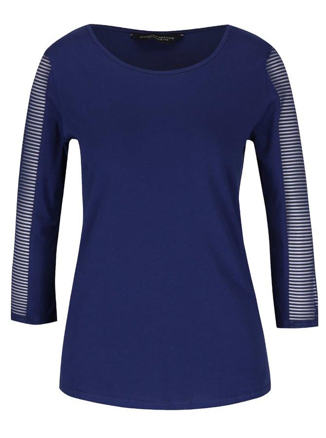 Modré tričko s průhlednými 3/4 rukávy Dorothy Perkins