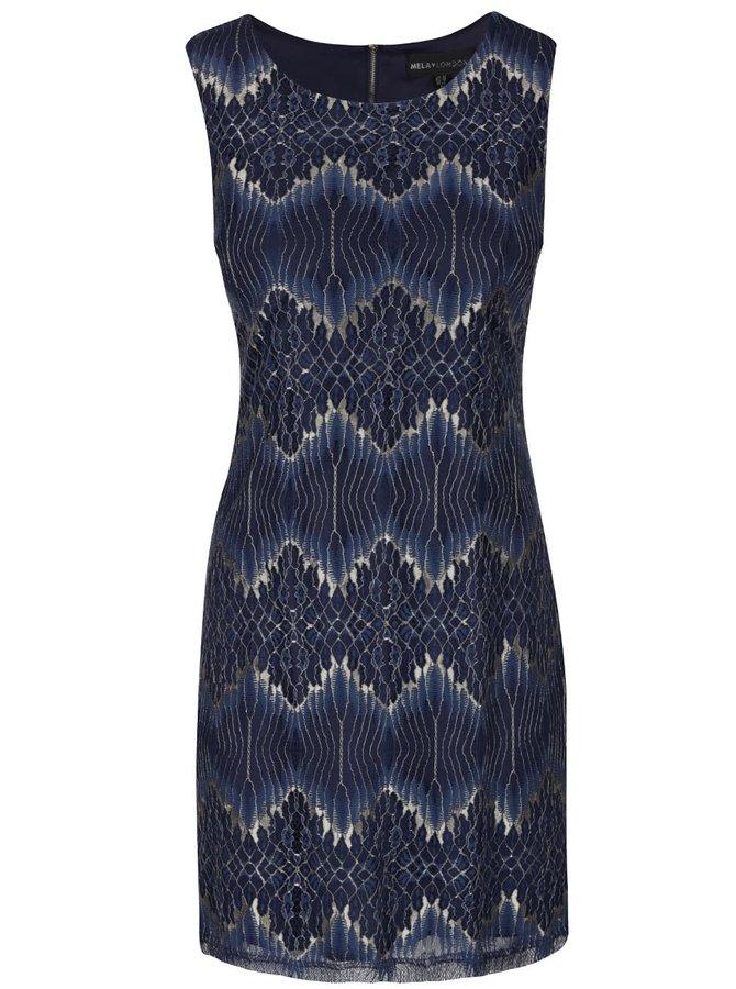 Tmavě modré krajkové šaty se vzory ve zlaté barvě Mela London