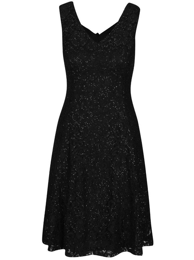 Černé krajkované třpytivé šaty Mela London