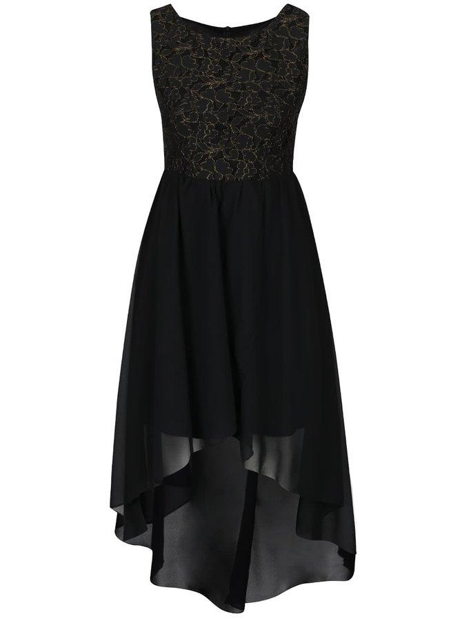 Černé šaty s prošívaným krajkovým topem ve zlaté barvě Mela London