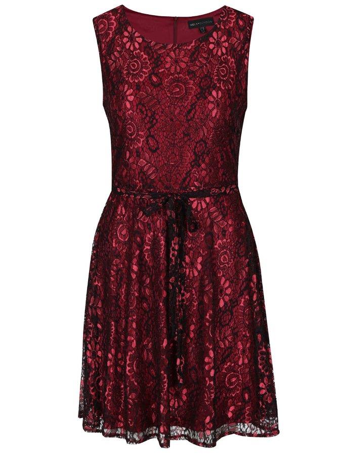 Černo-vínové lesklé krajkové šaty Mela London