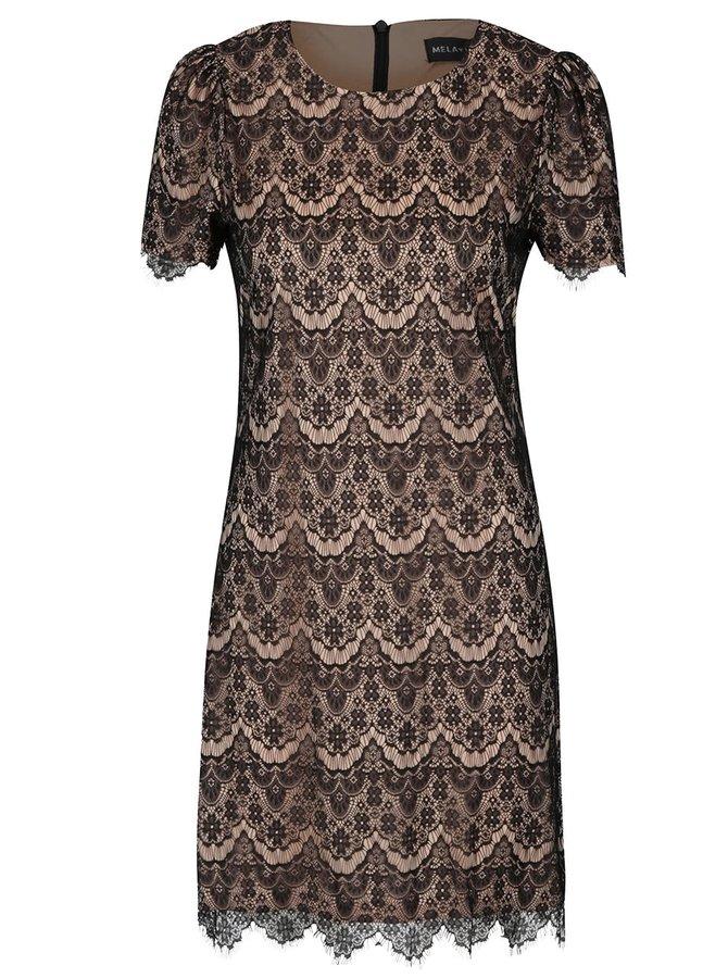 Hnědo-černé krajkové šaty Mela London