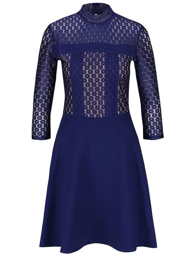 Modré šaty s krajkovaným topem Dorothy Perkins