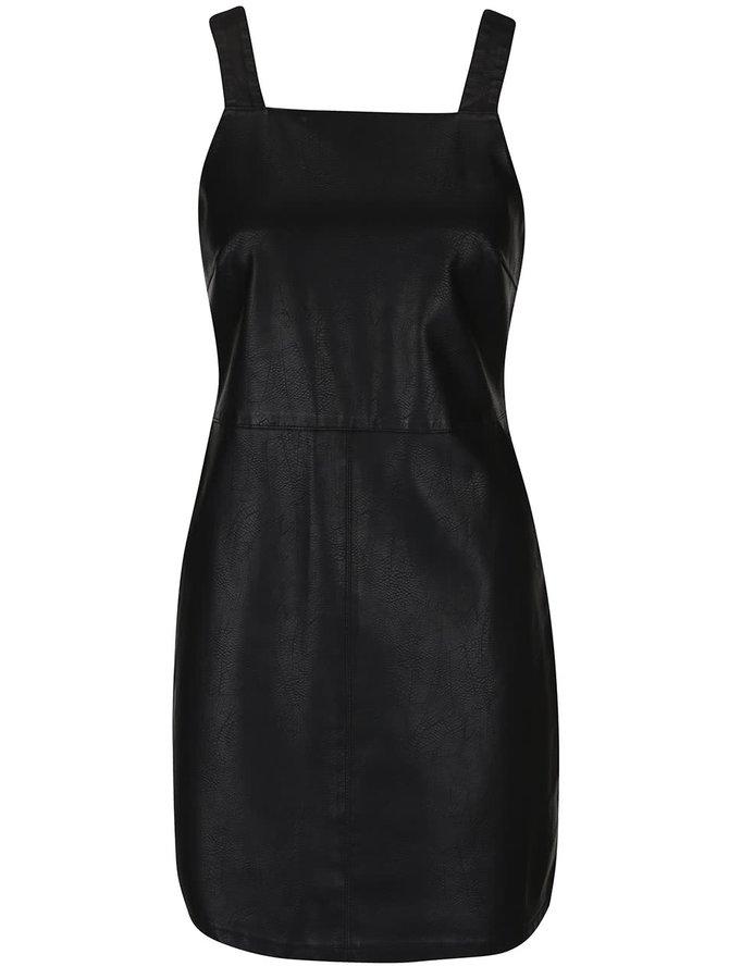 Černé koženkové šaty s lacly Dorothy Perkins