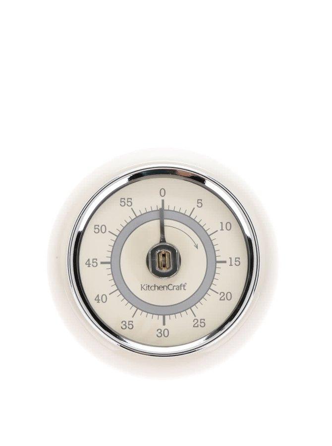 Krémová retro magnetická minutka Kitchen Craft