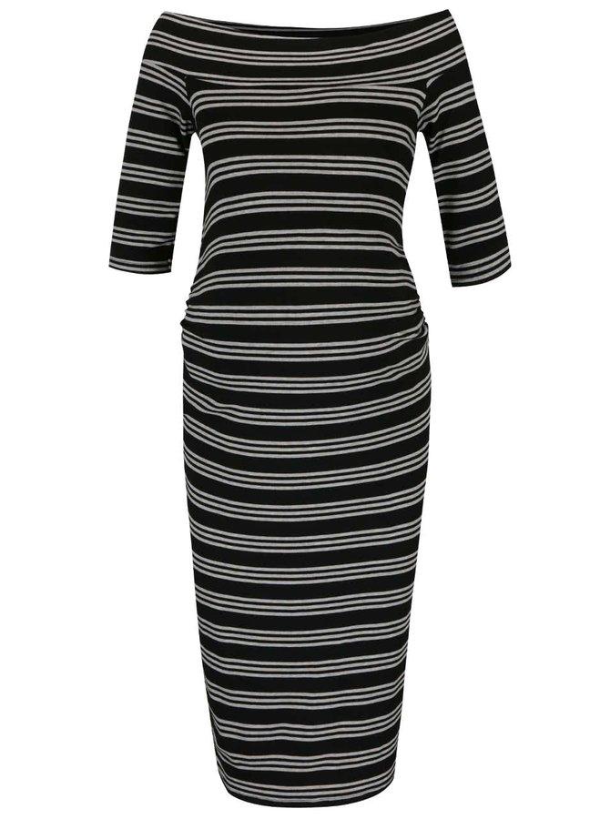 Černé těhotenské pruhované šaty s odhalenými rameny Dorothy Perkins Maternity