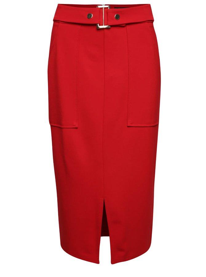 Červená sukně s páskem Dorothy Perkins