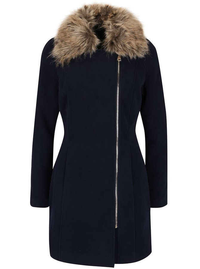 Tmavě modrý kabát s umělou kožešinou Haily´s Zeya