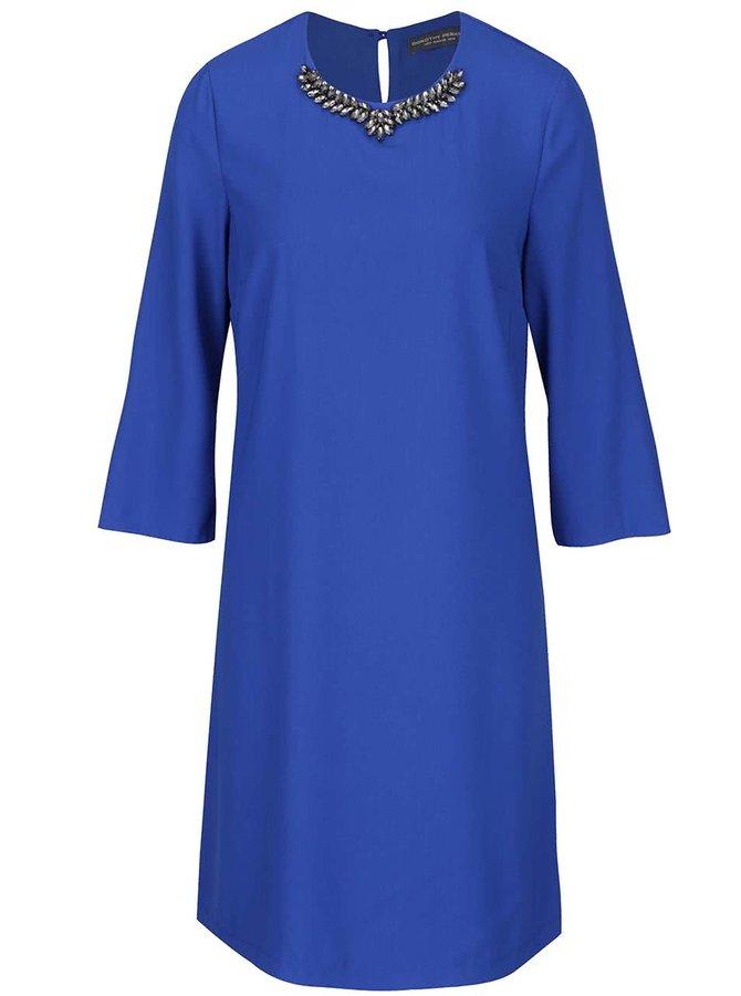 Modré volné šaty s korálkovou aplikací Dorothy Perkins tall
