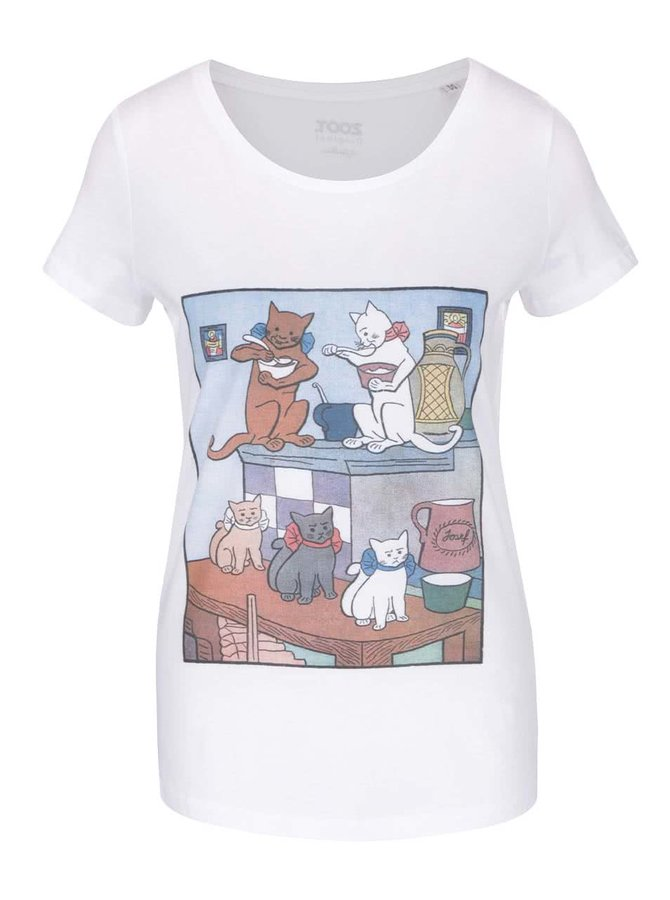 Biele dámske tričko ZOOT Originál Jos. Lada Kočky na peci