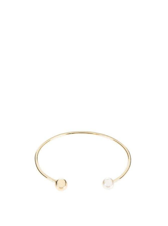 Náramok v zlatej farbe s krémovou perličkou Pieces Filune