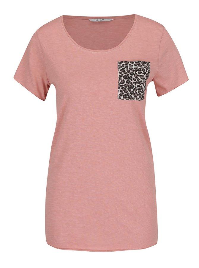 Světle růžové tričko s náprsní vzorovanou kapsou ONLY Easy