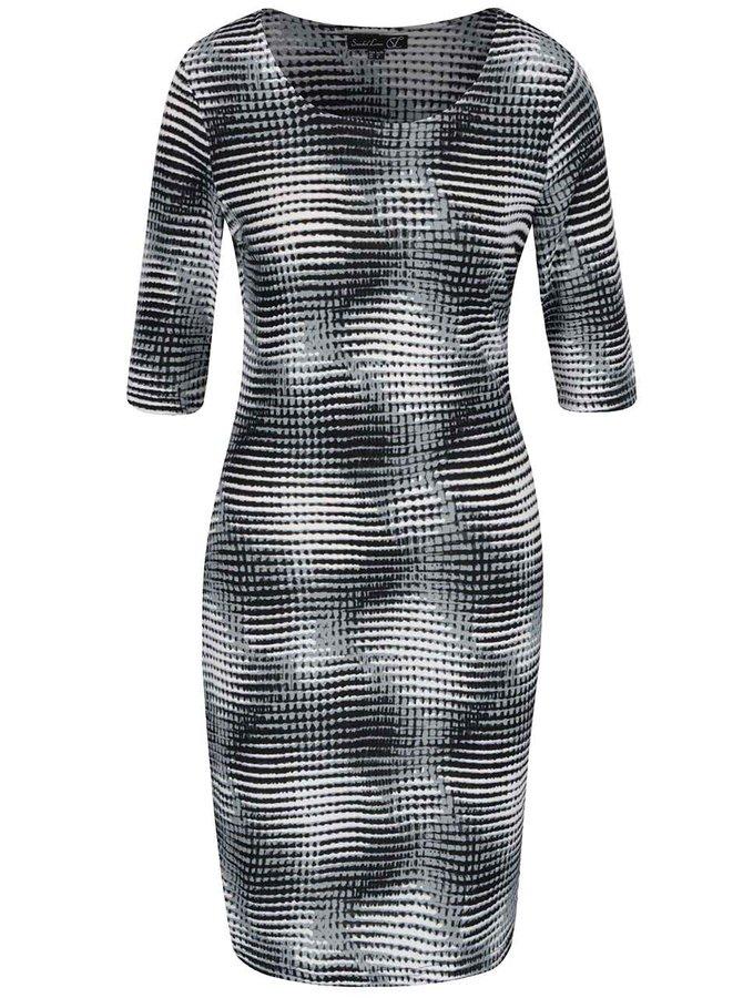 Sivé vzorované šaty s 3/4 rukávmi Smashed Lemon