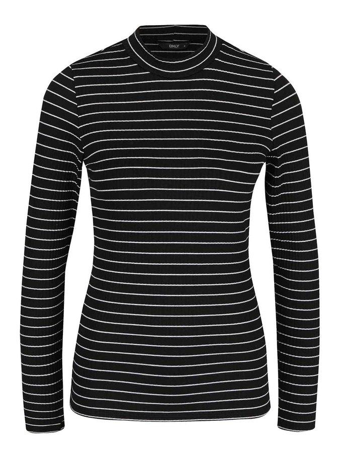 Černé pruhované tričko s dlouhým rukávem ONLY Iann