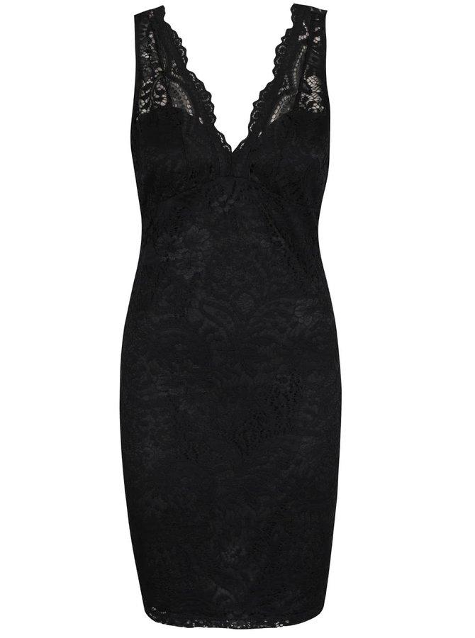 Čierne čipkované šaty na ramienka ONLY Dove